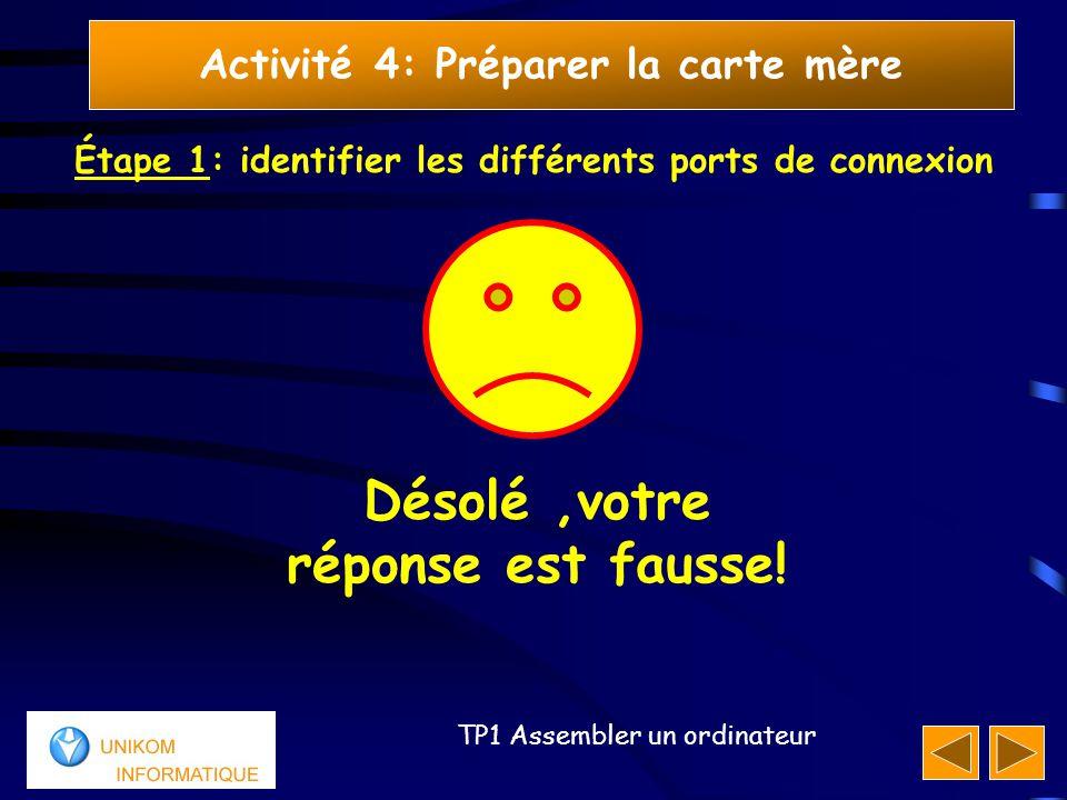17 TP1 Assembler un ordinateur Activité 4: Préparer la carte mère Étape 1: identifier les différents ports de connexion Désolé,votre réponse est fauss