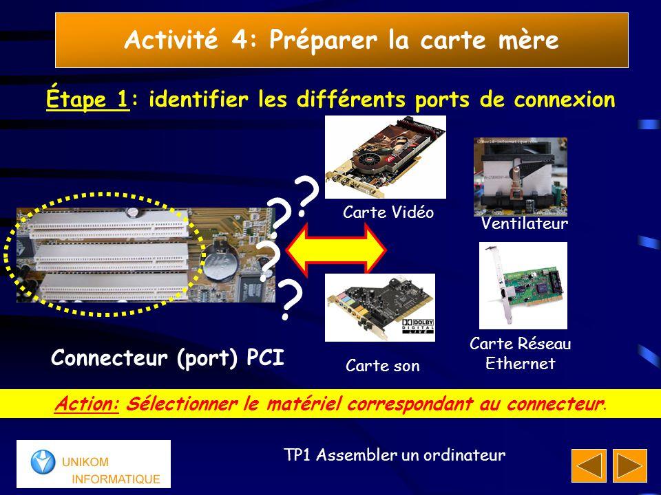 18 TP1 Assembler un ordinateur Activité 4: Préparer la carte mère Étape 1: identifier les différents ports de connexion Action: Sélectionner le matéri