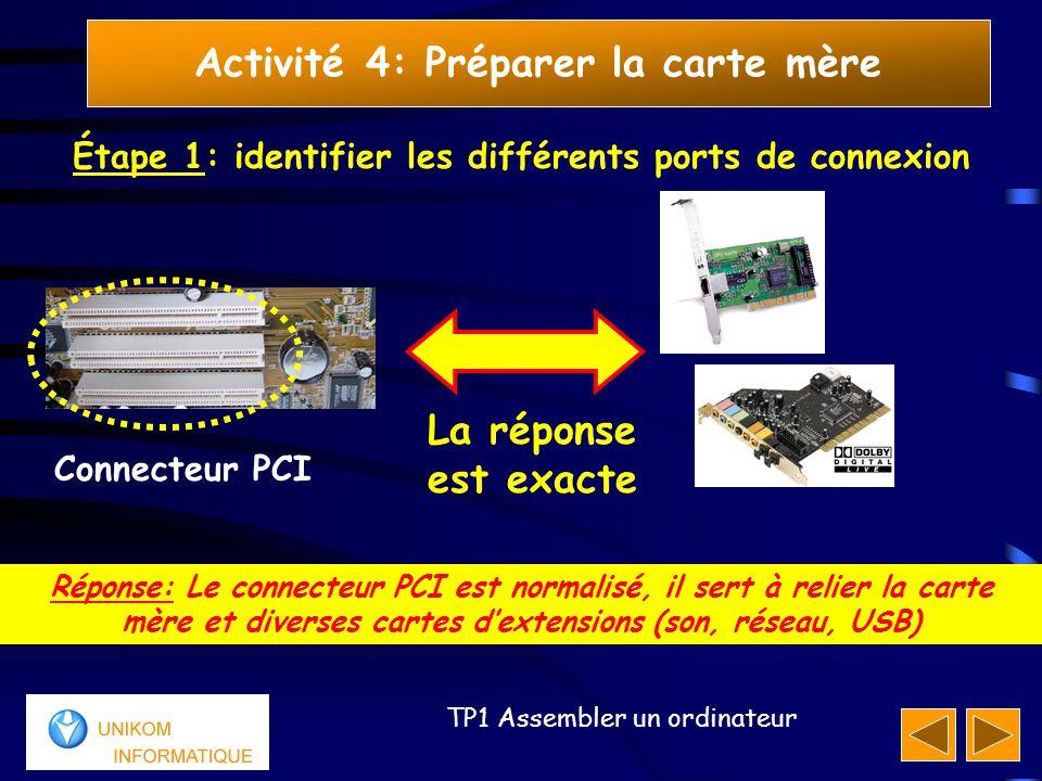 19 TP1 Assembler un ordinateur Activité 4: Préparer la carte mère Étape 1: identifier les différents ports de connexion Réponse: Le connecteur PCI est