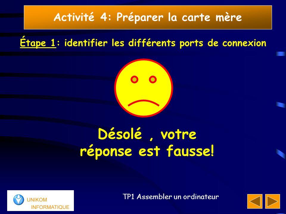 20 TP1 Assembler un ordinateur Activité 4: Préparer la carte mère Étape 1: identifier les différents ports de connexion Désolé, votre réponse est faus