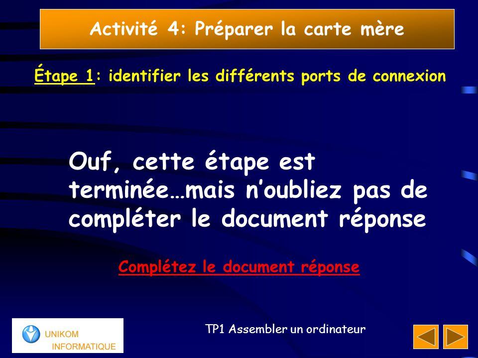 21 TP1 Assembler un ordinateur Activité 4: Préparer la carte mère Étape 1: identifier les différents ports de connexion Ouf, cette étape est terminée…