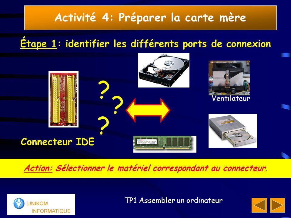 77 TP1 Assembler un ordinateur Activité 4: Préparer la carte mère Étape 1: identifier les différents ports de connexion Réponse: Le connecteur IDE peut être connecté au disque dur et/ou au lecteur (DVD, CD, graveur,…).