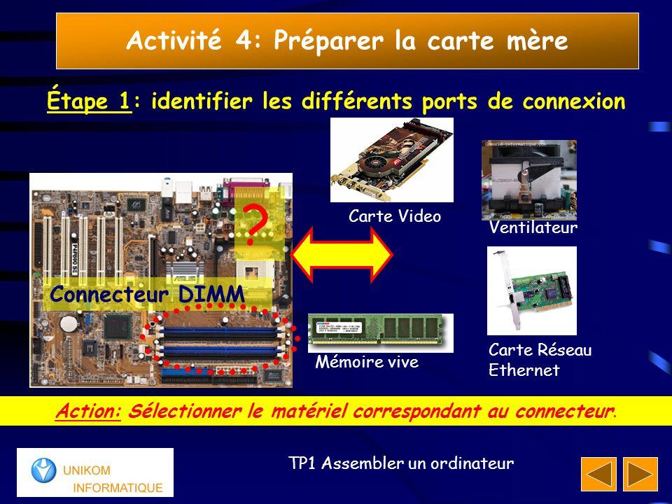10 TP1 Assembler un ordinateur Activité 4: Préparer la carte mère Étape 1: identifier les différents ports de connexion Réponse: Le connecteur DIMM sert à connecter la mémoire vive à la carte mère Your answer is correct!* Connecteur DIMM Mémoire Vive *Votre réponse est correcte
