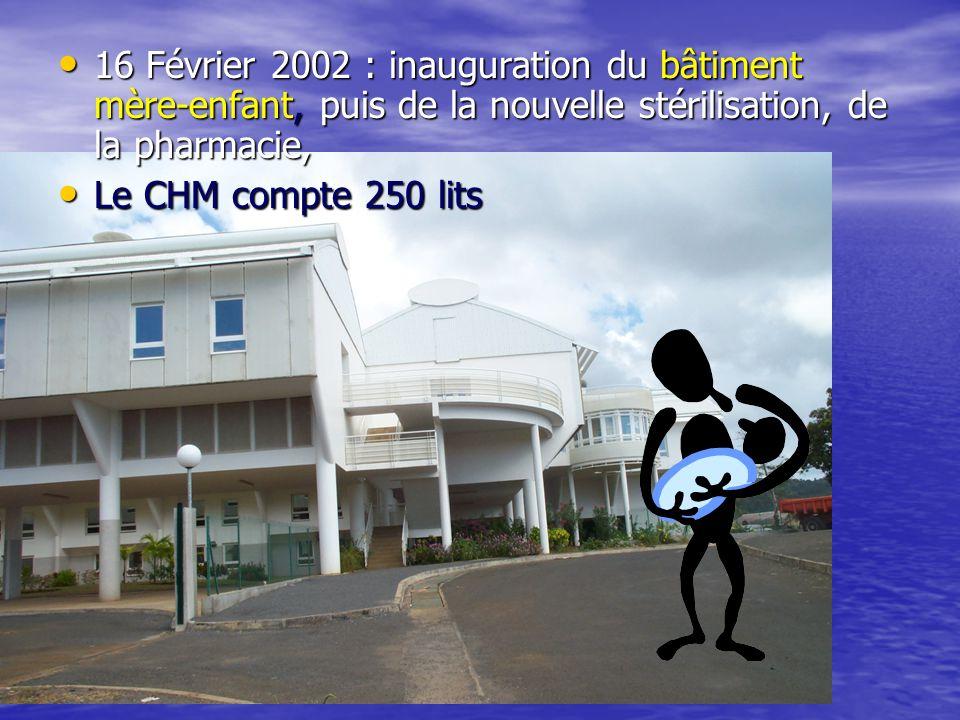 • 16 Février 2002 : inauguration du bâtiment mère-enfant, puis de la nouvelle stérilisation, de la pharmacie, • Le CHM compte 250 lits
