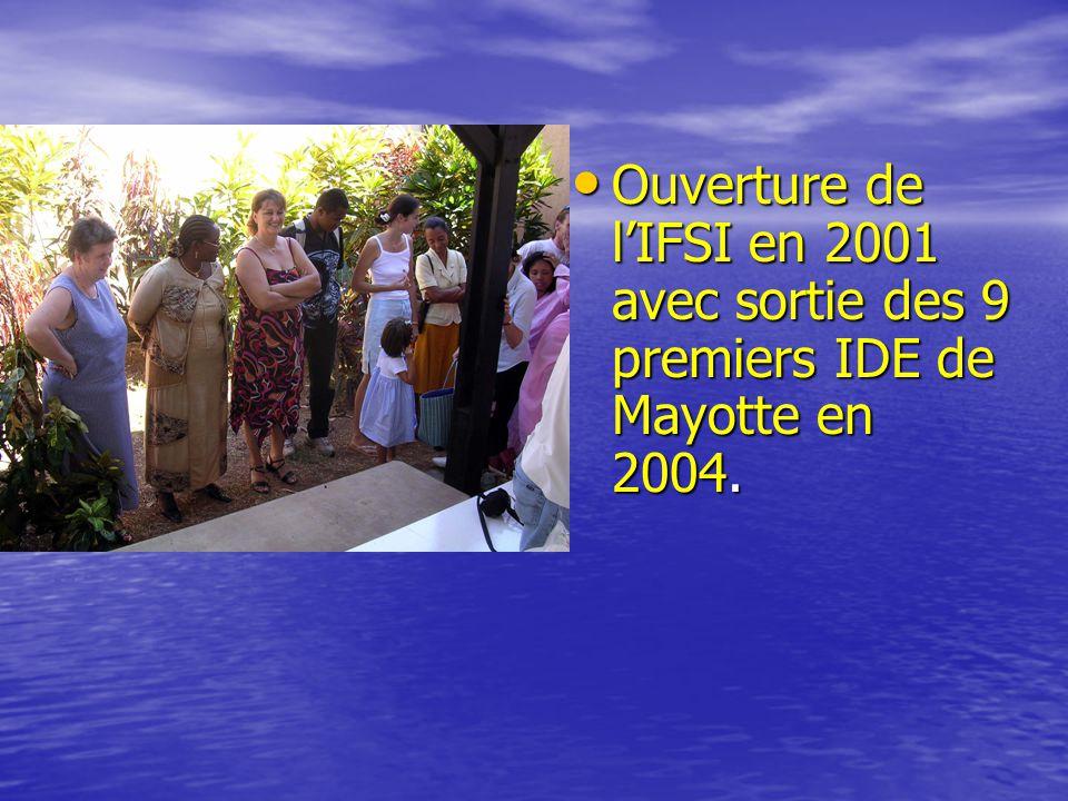 • Ouverture de l'IFSI en 2001 avec sortie des 9 premiers IDE de Mayotte en 2004.