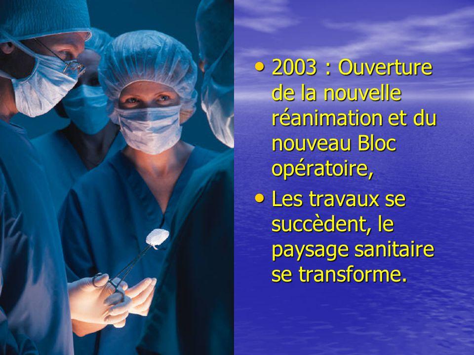 • 2003 : Ouverture de la nouvelle réanimation et du nouveau Bloc opératoire, • Les travaux se succèdent, le paysage sanitaire se transforme.