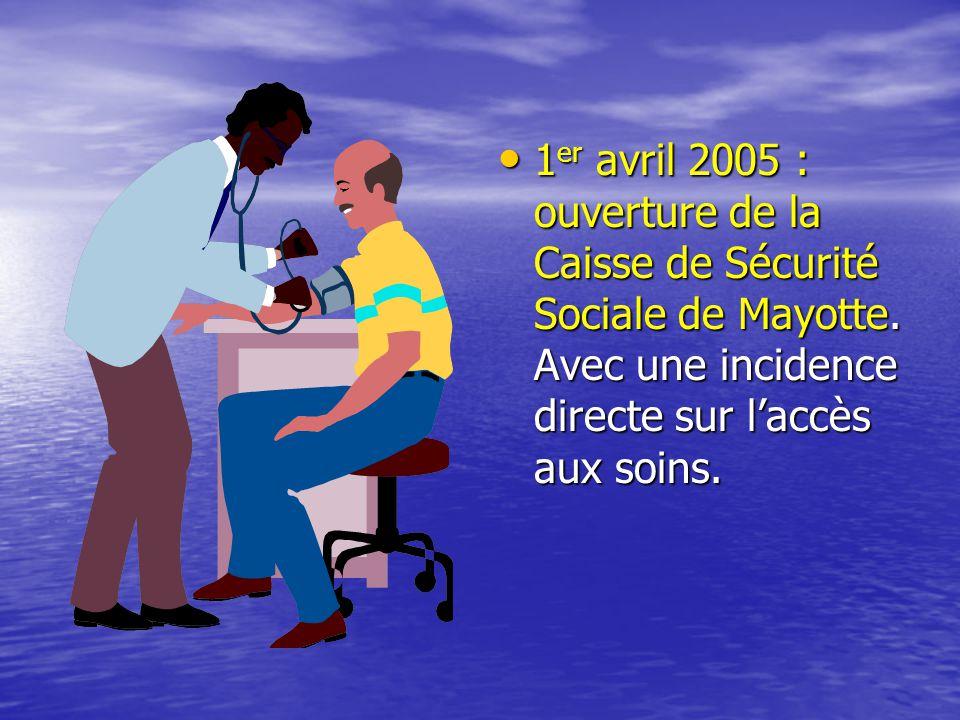 • 1 er avril 2005 : ouverture de la Caisse de Sécurité Sociale de Mayotte.