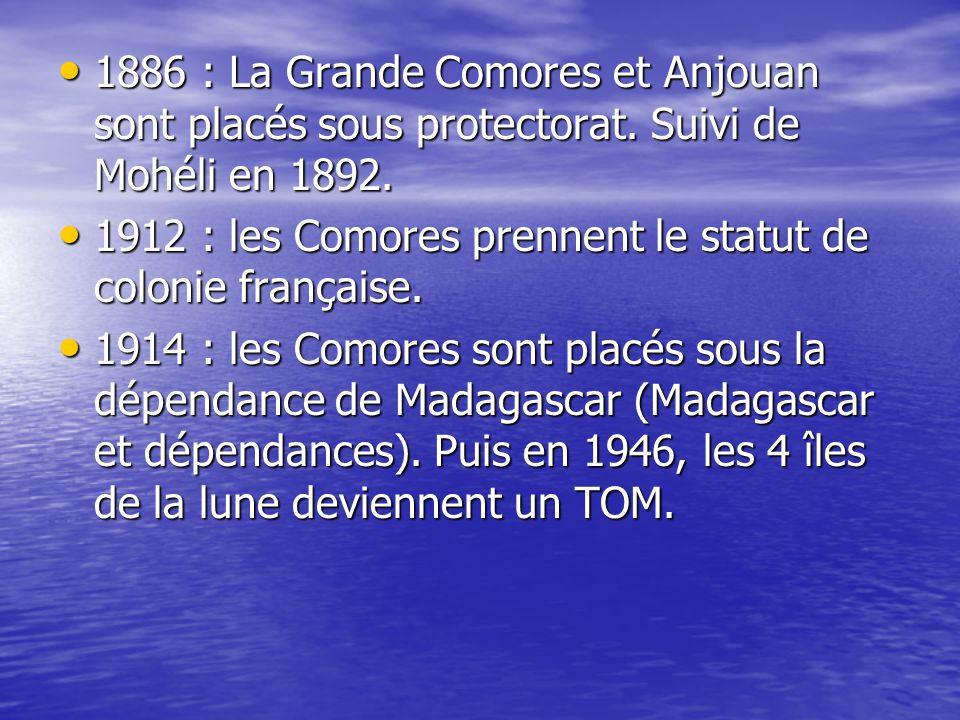 • 1974 : consultation, par référendum île par île, du peuple comorien au sujet de l'indépendance.