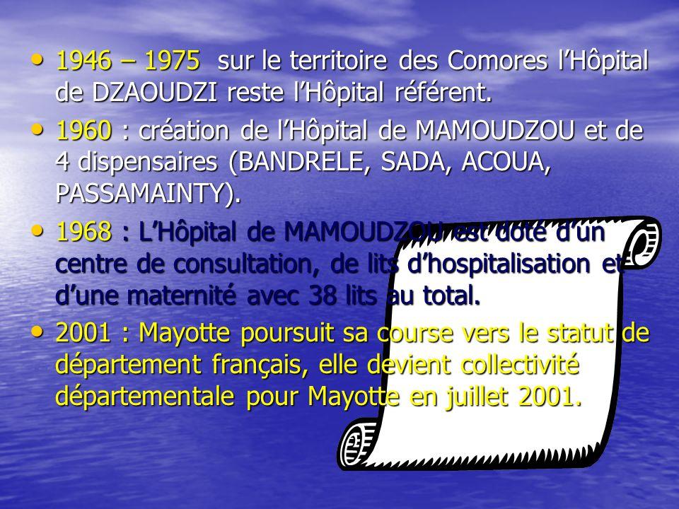 • 1946 – 1975 sur le territoire des Comores l'Hôpital de DZAOUDZI reste l'Hôpital référent.