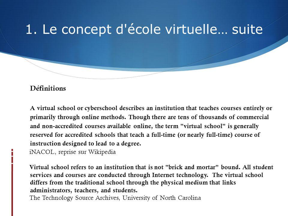 1. Le concept d'école virtuelle… suite Définitions A virtual school or cyberschool describes an institution that teaches courses entirely or primarily