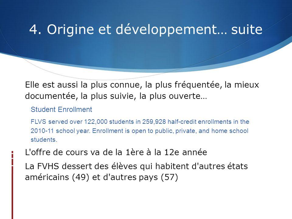 4. Origine et développement… suite Elle est aussi la plus connue, la plus fréquentée, la mieux documentée, la plus suivie, la plus ouverte… Student En
