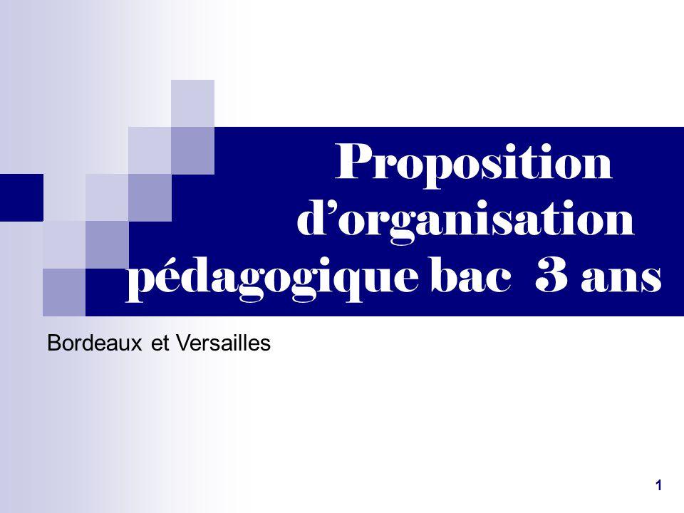 Proposition d'organisation pédagogique bac 3 ans Bordeaux et Versailles 1