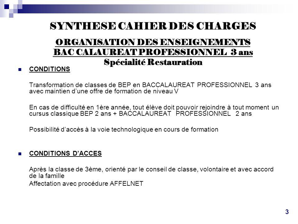 SYNTHESE CAHIER DES CHARGES ORGANISATION DES ENSEIGNEMENTS BAC CALAUREAT PROFESSIONNEL 3 ans Spécialité Restauration  CONDITIONS Transformation de cl