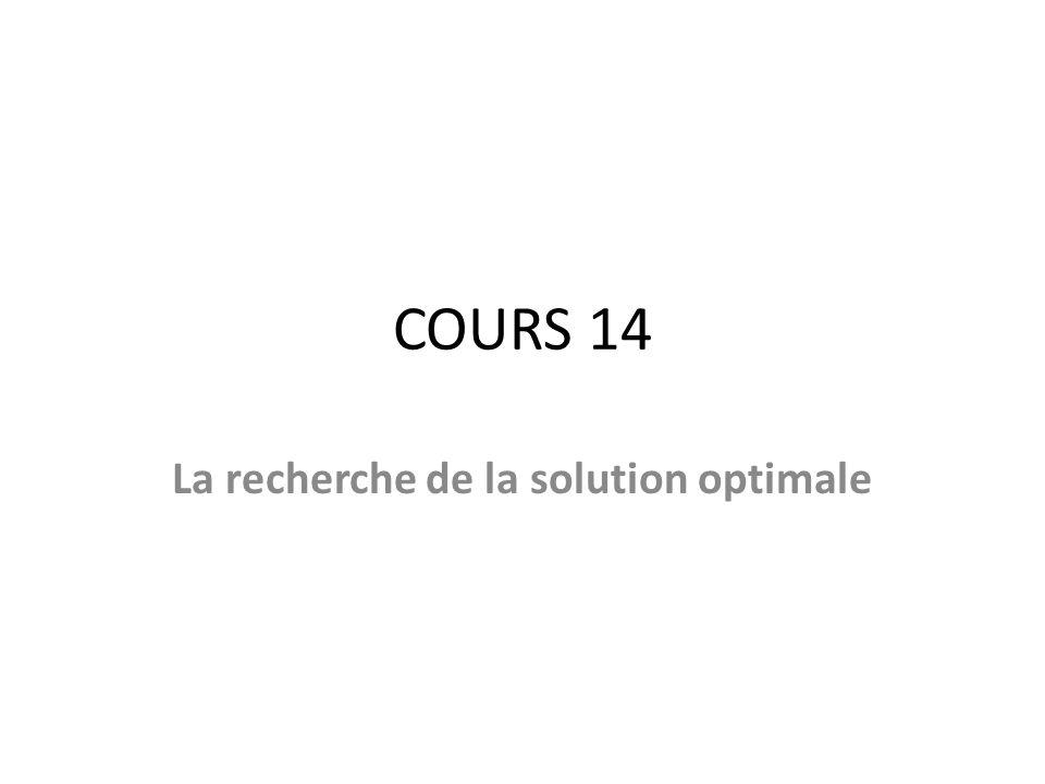 COURS 14 La recherche de la solution optimale