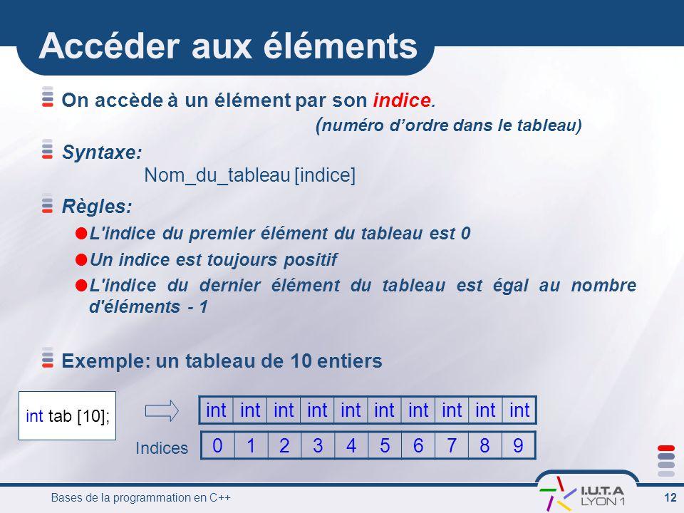Bases de la programmation en C++ 12 Accéder aux éléments On accède à un élément par son indice. ( numéro d'ordre dans le tableau) Syntaxe: Règles:  L