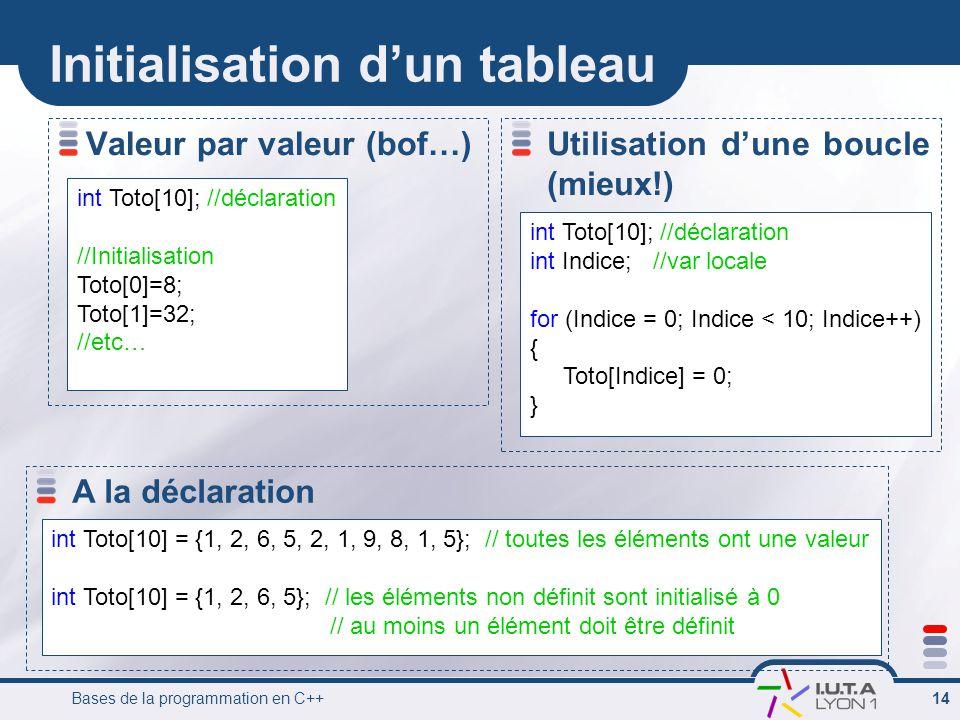 Bases de la programmation en C++ 14 Initialisation d'un tableau Valeur par valeur (bof…) int Toto[10]; //déclaration //Initialisation Toto[0]=8; Toto[