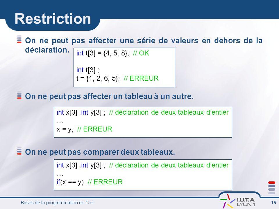 Bases de la programmation en C++ 15 Restriction On ne peut pas affecter une série de valeurs en dehors de la déclaration. On ne peut pas affecter un t