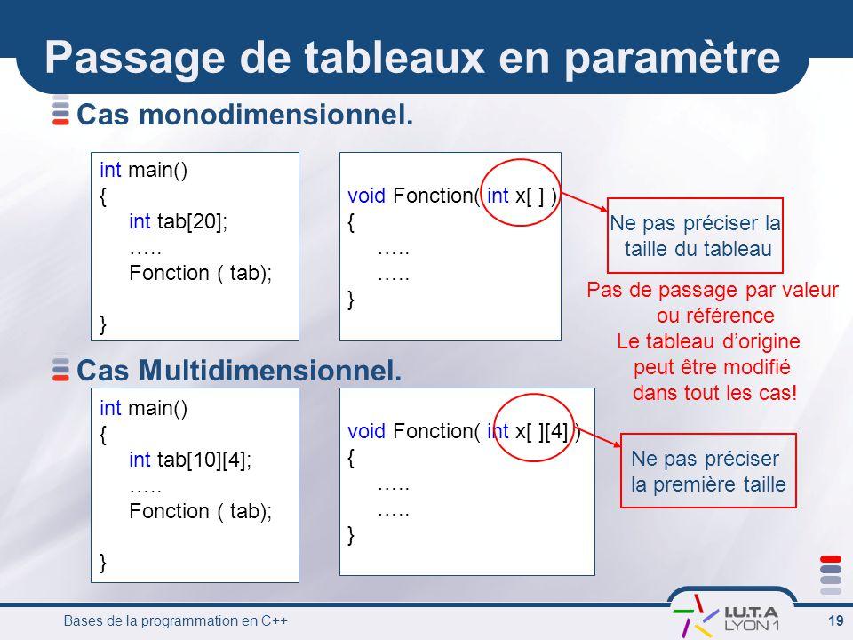 Bases de la programmation en C++ 19 Passage de tableaux en paramètre Cas monodimensionnel. Cas Multidimensionnel. void Fonction( int x[ ] ) { ….. } in