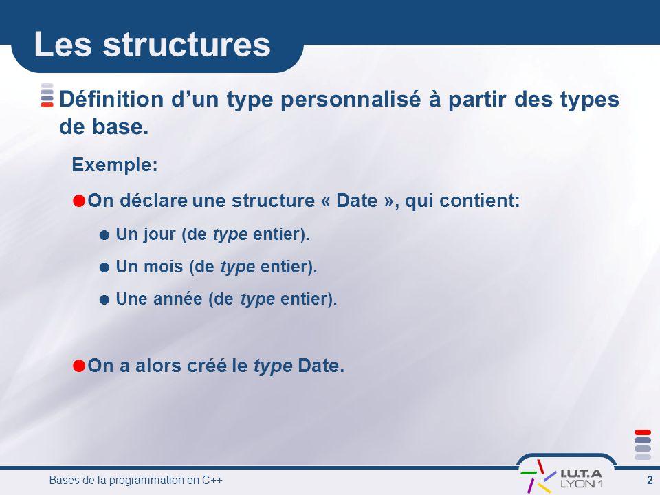 Bases de la programmation en C++ 2 Les structures Définition d'un type personnalisé à partir des types de base. Exemple:  On déclare une structure «