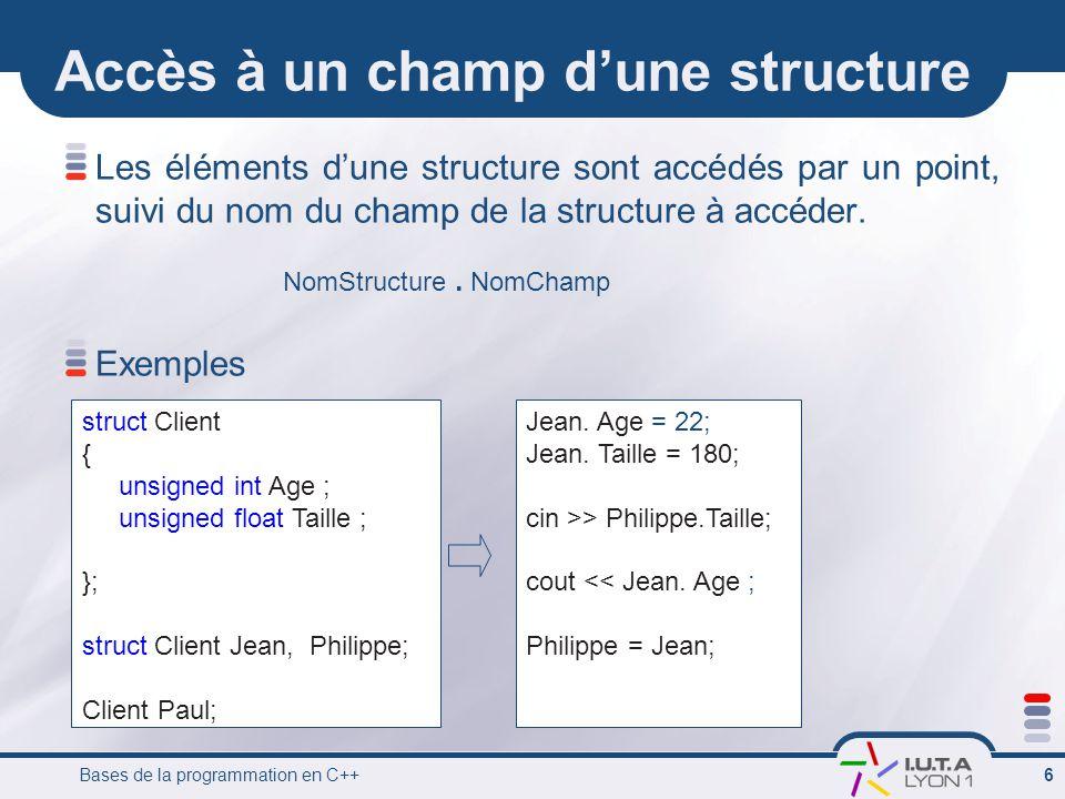 Bases de la programmation en C++ 6 Accès à un champ d'une structure Les éléments d'une structure sont accédés par un point, suivi du nom du champ de l
