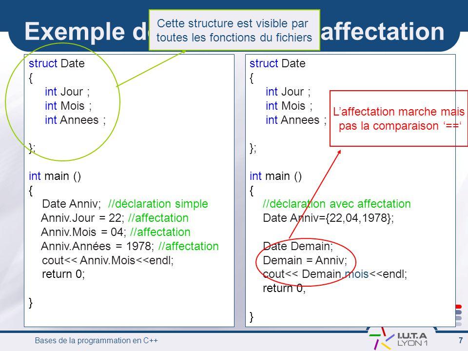 Bases de la programmation en C++ 7 struct Date { int Jour ; int Mois ; int Annees ; }; int main () { //déclaration avec affectation Date Anniv={22,04,