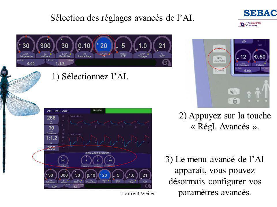 Laurent Weiler Sélection des réglages avancés de l'AI. 1) Sélectionnez l'AI. 2) Appuyez sur la touche « Régl. Avancés ». 3) Le menu avancé de l'AI app
