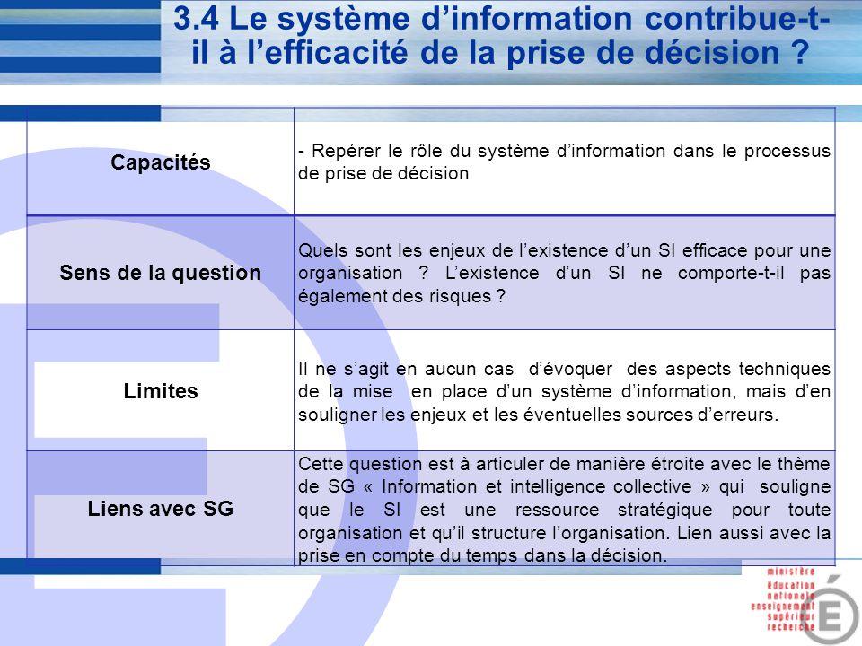 E 13 3.4 Le système d'information contribue-t- il à l'efficacité de la prise de décision ? Capacités - Repérer le rôle du système d'information dans l