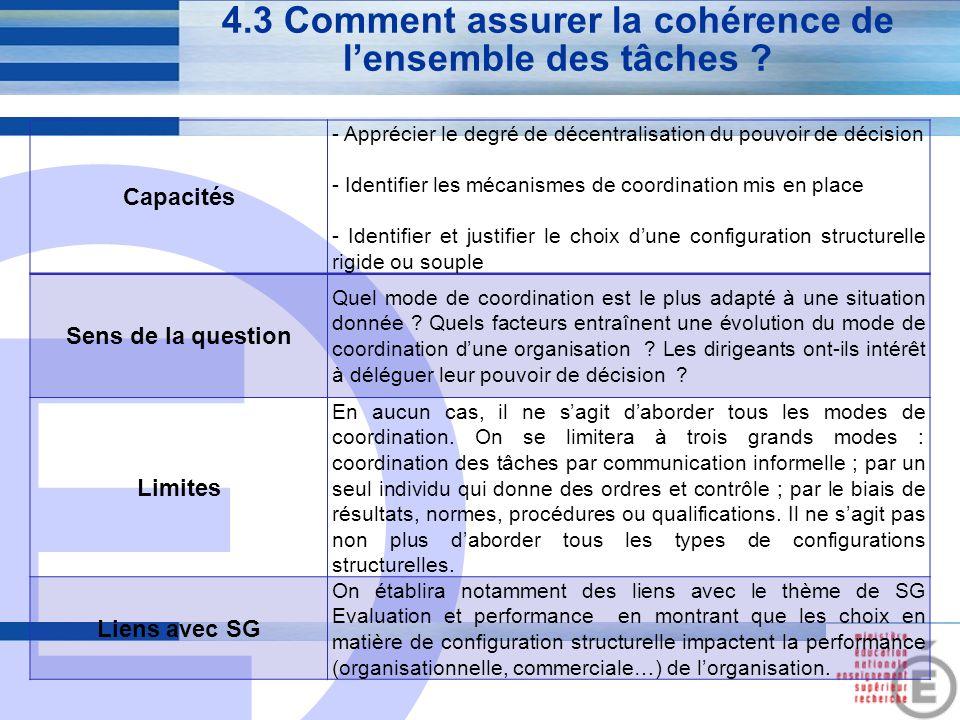 E 17 4.3 Comment assurer la cohérence de l'ensemble des tâches ? Capacités - Apprécier le degré de décentralisation du pouvoir de décision - Identifie