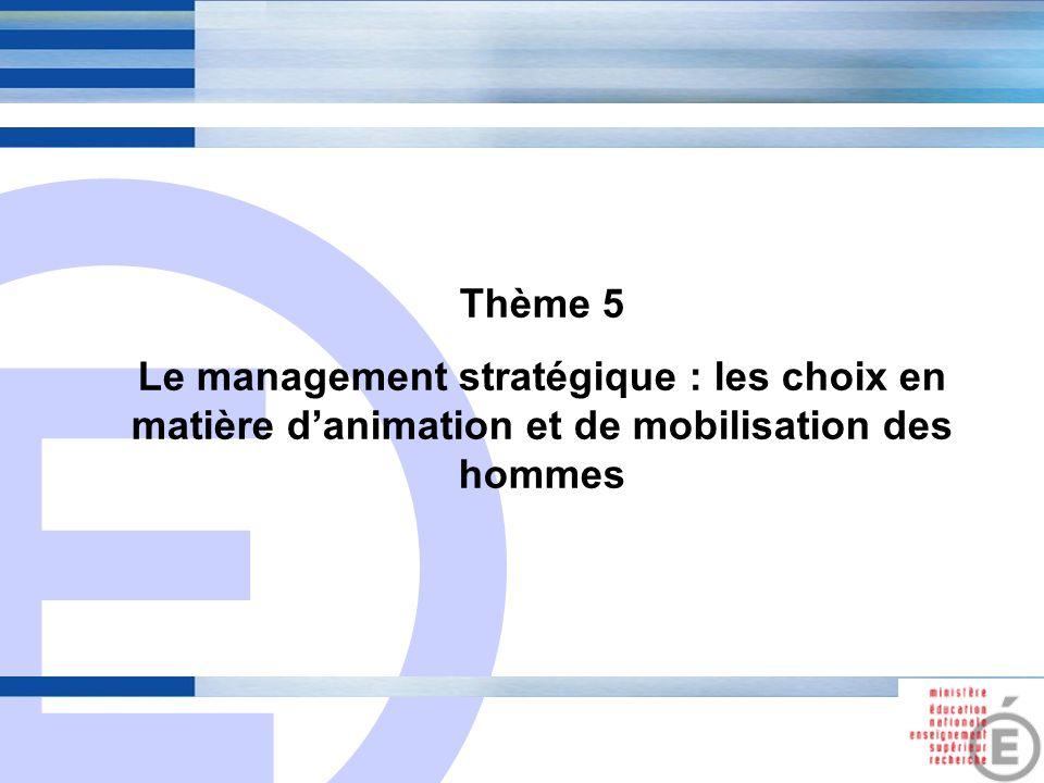 E 18 Thème 5 Le management stratégique : les choix en matière d'animation et de mobilisation des hommes