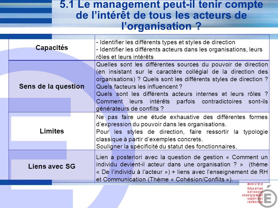 E 19 5.1 Le management peut-il tenir compte de l'intérêt de tous les acteurs de l'organisation ? Capacités - Identifier les différents types et styles
