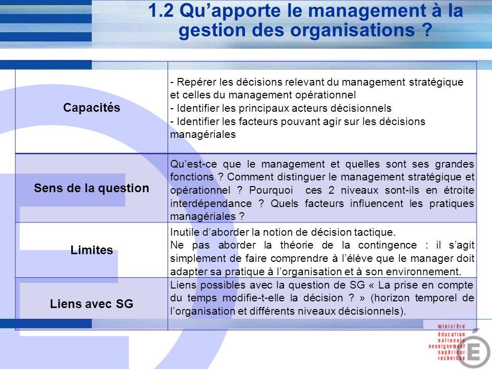 E 4 1.2 Qu'apporte le management à la gestion des organisations ? Capacités - Repérer les décisions relevant du management stratégique et celles du ma