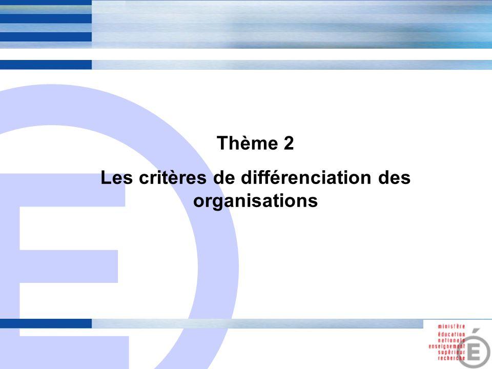 E 5 Thème 2 Les critères de différenciation des organisations