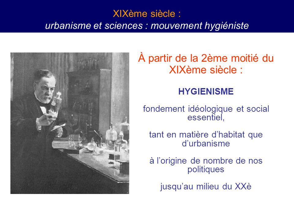 À partir de la 2ème moitié du XIXème siècle : HYGIENISME fondement idéologique et social essentiel, tant en matière d'habitat que d'urbanisme à l'origine de nombre de nos politiques jusqu'au milieu du XXè XIXème siècle : urbanisme et sciences : mouvement hygiéniste
