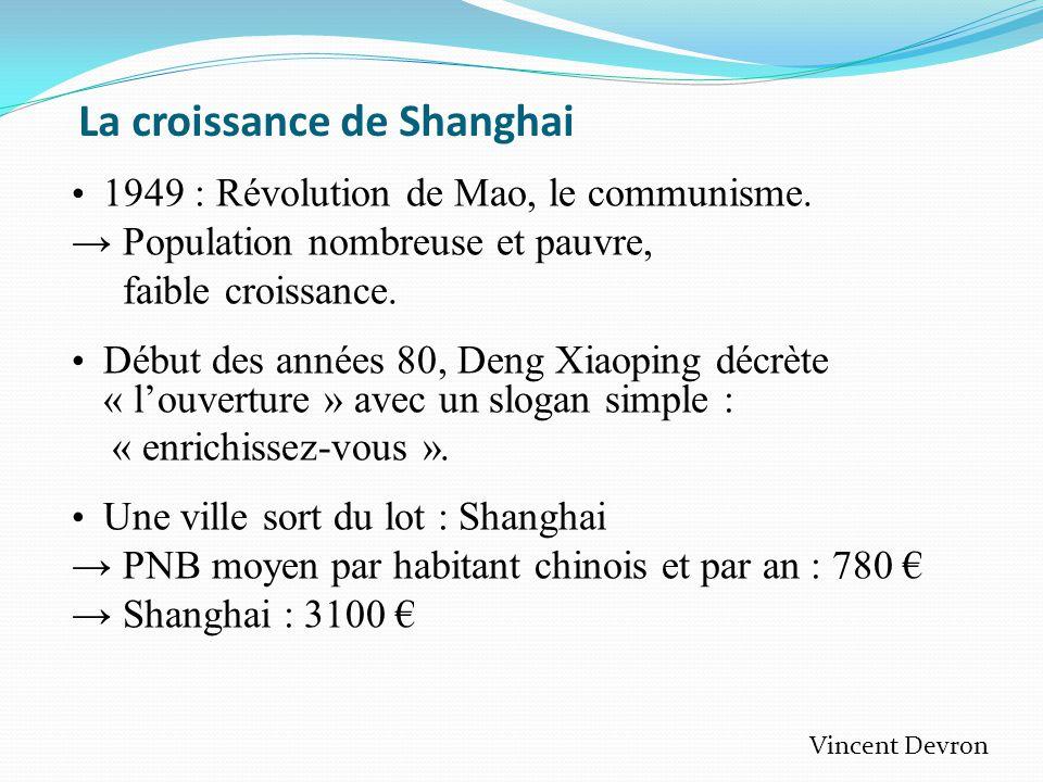 La croissance de Shanghai • 1949 : Révolution de Mao, le communisme.