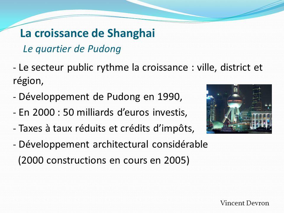 La croissance de Shanghai Le quartier de Pudong - Le secteur public rythme la croissance : ville, district et région, - Développement de Pudong en 1990, - En 2000 : 50 milliards d'euros investis, - Taxes à taux réduits et crédits d'impôts, - Développement architectural considérable (2000 constructions en cours en 2005) Vincent Devron