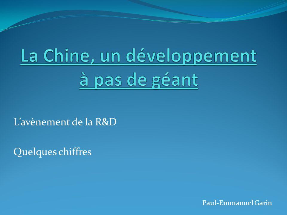 L'avènement de la R&D Quelques chiffres Paul-Emmanuel Garin