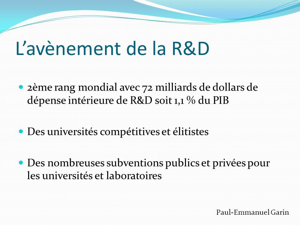 L'avènement de la R&D  2ème rang mondial avec 72 milliards de dollars de dépense intérieure de R&D soit 1,1 % du PIB  Des universités compétitives et élitistes  Des nombreuses subventions publics et privées pour les universités et laboratoires Paul-Emmanuel Garin