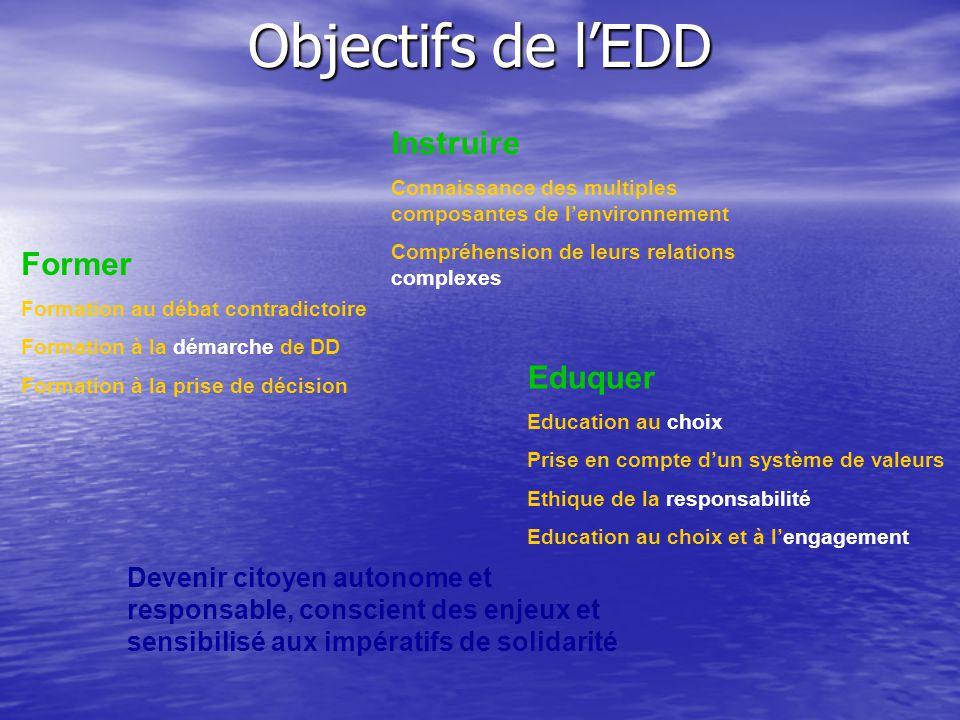 Objectifs de l'EDD Instruire Connaissance des multiples composantes de l'environnement Compréhension de leurs relations complexes Former Formation au
