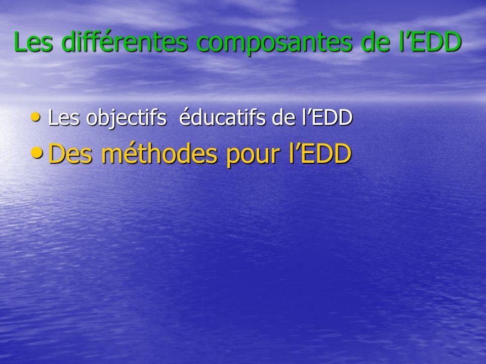 Les différentes composantes de l'EDD • Les objectifs éducatifs de l'EDD • Des méthodes pour l'EDD