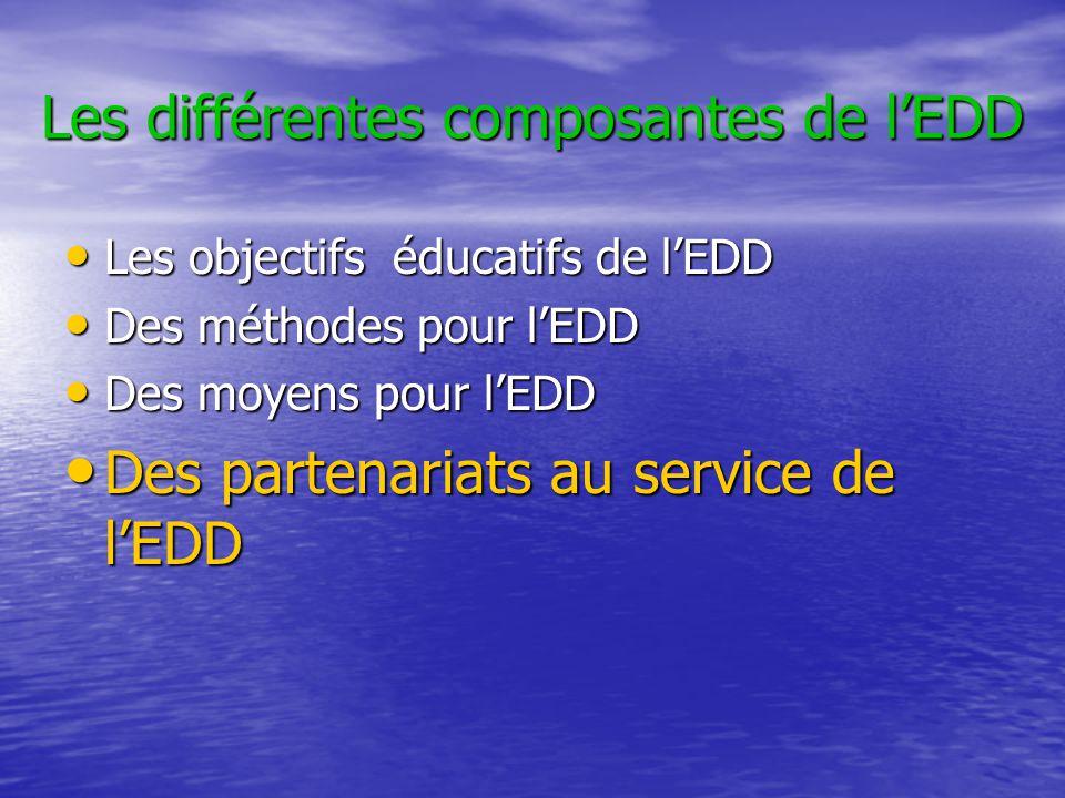 Les différentes composantes de l'EDD • Les objectifs éducatifs de l'EDD • Des méthodes pour l'EDD • Des moyens pour l'EDD • Des partenariats au servic