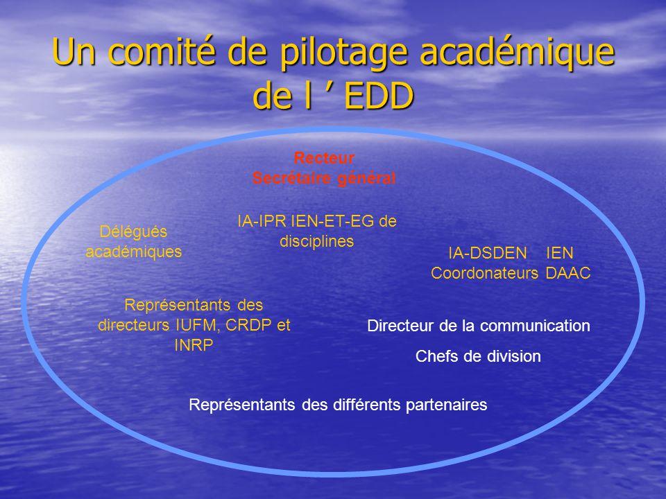 Un comité de pilotage académique de l ' EDD Recteur Secrétaire général IA-IPR IEN-ET-EG de disciplines Délégués académiques IA-DSDEN IEN Coordonateurs