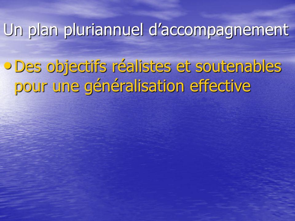 Un plan pluriannuel d'accompagnement • Des objectifs réalistes et soutenables pour une généralisation effective