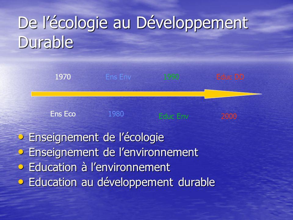 Enseigner l'écologie : les années 70 • C'est une science qui est enseignée (1er D) par les Sciences Naturelles • Instruire par un apport de connaissance sur la complexité • Former au raisonnement scientifique systémique • Evolution de écosystèmes vers le « climax »