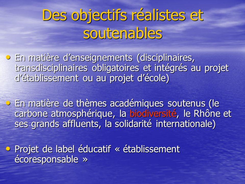 Des objectifs réalistes et soutenables • En matière d'enseignements (disciplinaires, transdisciplinaires obligatoires et intégrés au projet d'établiss