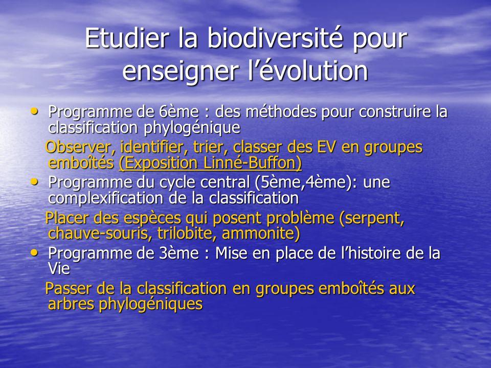Etudier la biodiversité pour enseigner l'évolution • Programme de 6ème : des méthodes pour construire la classification phylogénique Observer, identif