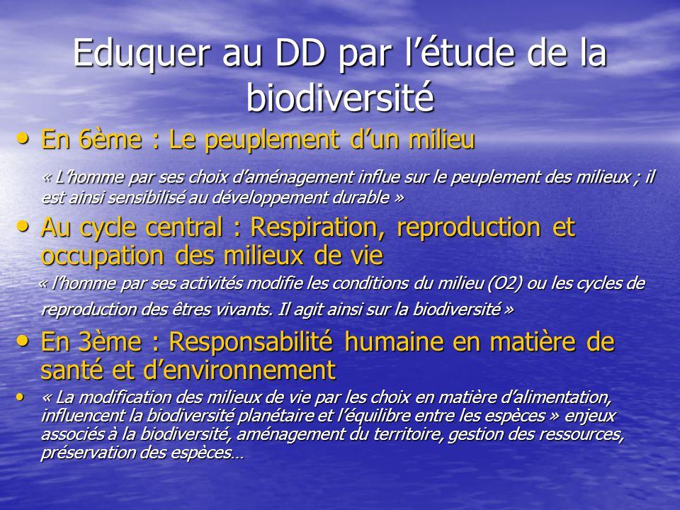 Eduquer au DD par l'étude de la biodiversité • En 6ème : Le peuplement d'un milieu « L'homme par ses choix d'aménagement influe sur le peuplement des