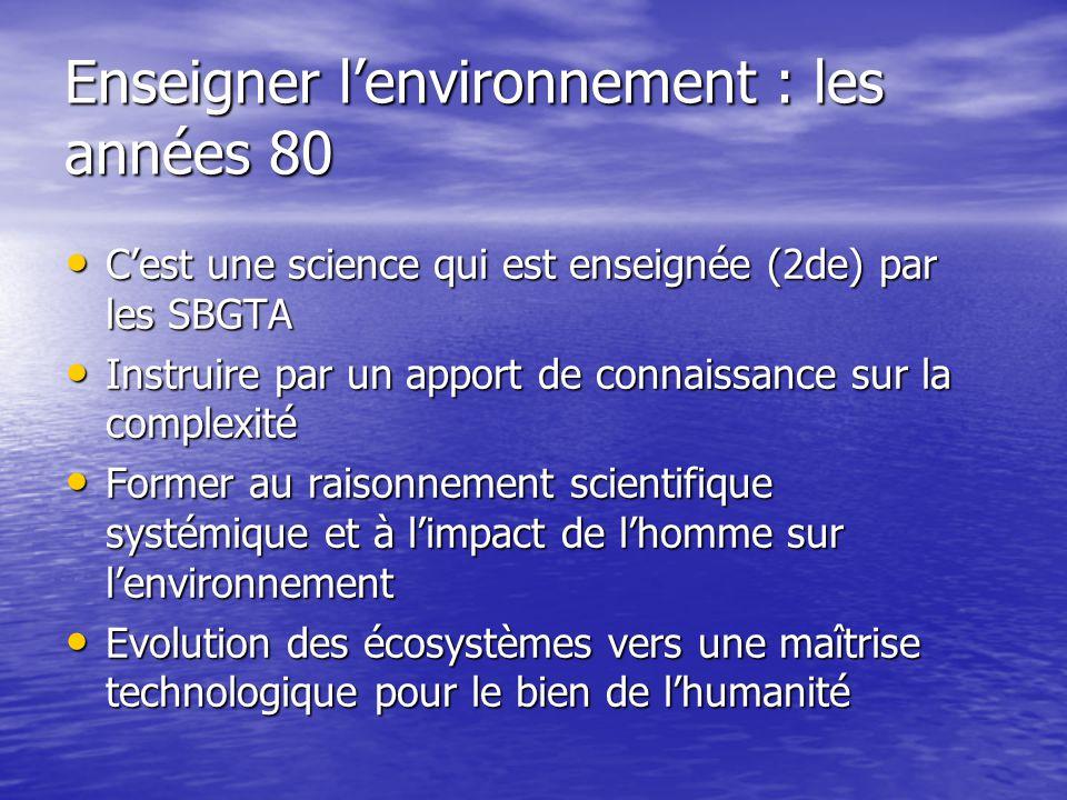 Enseigner l'environnement : les années 80 • C'est une science qui est enseignée (2de) par les SBGTA • Instruire par un apport de connaissance sur la c