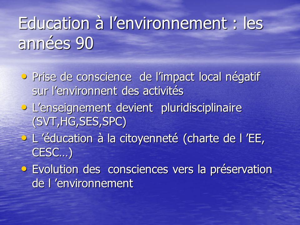 Education à l'environnement : les années 90 • Prise de conscience de l'impact local négatif sur l'environnent des activités • L'enseignement devient p