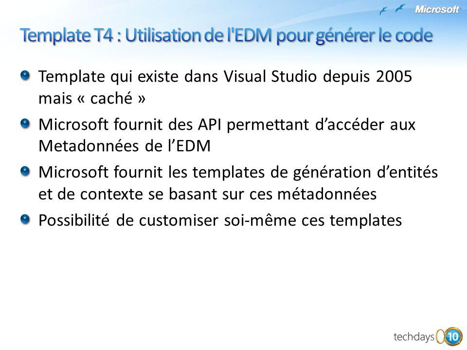 Template qui existe dans Visual Studio depuis 2005 mais « caché » Microsoft fournit des API permettant d'accéder aux Metadonnées de l'EDM Microsoft fo