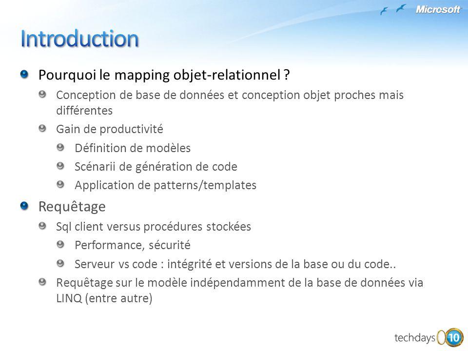L'approche Entity Framework Architecture orientée modèle Indépendance de la source de données Abstraction de la persistance Requêtage directement sur le modèle Puissant mapping de transformation Facilité de maintenance accrue et sensibilité aux évolutions réduite Implémentation Définition du modèle : Entity Data Model Requêtage sur le modèle: Esql, support de Linq